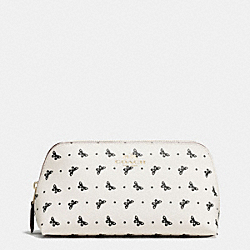 COSMETIC CASE 17 IN BUTTERFLY DOT PRINT COATED CANVAS - f59783 - IMITATION GOLD/CHALK/BLACK