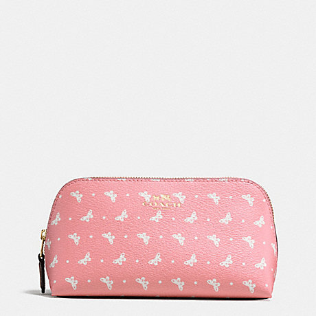 COACH COSMETIC CASE 17 IN BUTTERFLY DOT PRINT COATED CANVAS - IMITATION GOLD/BLUSH CHALK - f59783