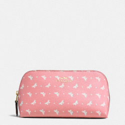 COSMETIC CASE 17 IN BUTTERFLY DOT PRINT COATED CANVAS - f59783 - IMITATION GOLD/BLUSH CHALK