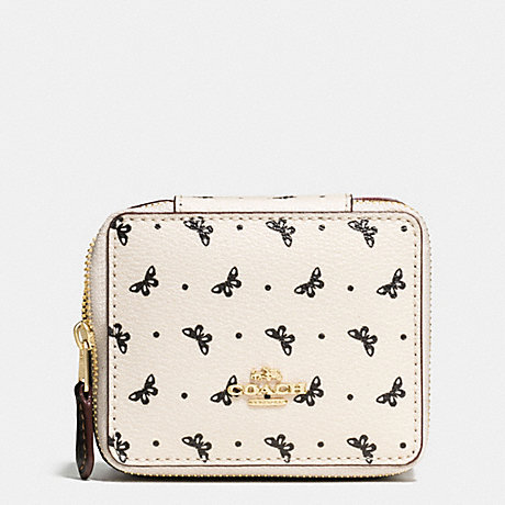 COACH JEWELRY BOX IN BUTTERFLY DOT PRINT COATED CANVAS - IMITATION GOLD/CHALK/BLACK - f59785