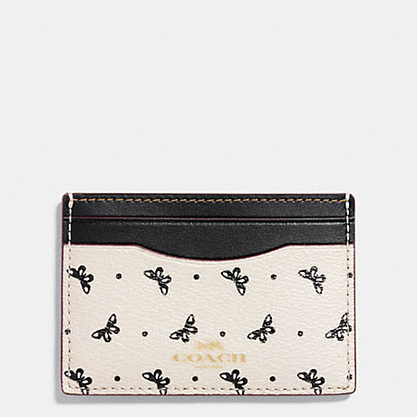 COACH FLAT CARD CASE IN BUTTERFLY DOT PRINT COATED CANVAS - IMITATION GOLD/CHALK/BLACK - f59787