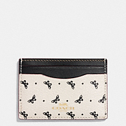 FLAT CARD CASE IN BUTTERFLY DOT PRINT COATED CANVAS - f59787 - IMITATION GOLD/CHALK/BLACK