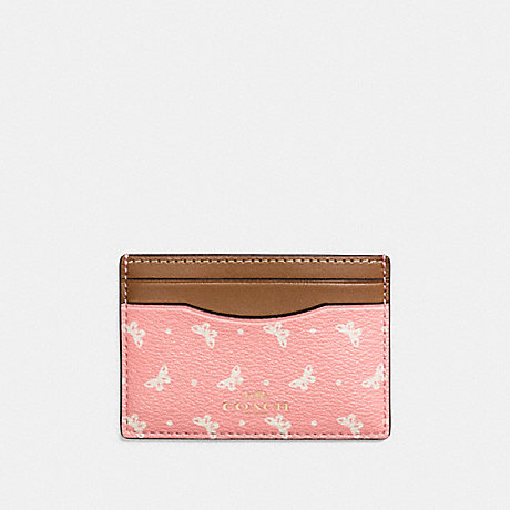 COACH FLAT CARD CASE IN BUTTERFLY DOT PRINT COATED CANVAS - IMITATION GOLD/BLUSH CHALK - f59787