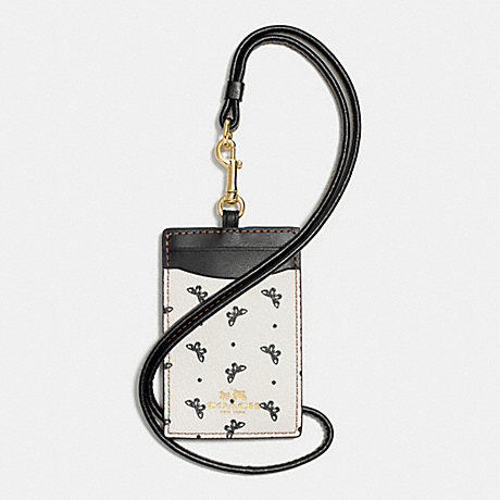 COACH ID LANYARD IN BUTTERFLY DOT PRINT COATED CANVAS - IMITATION GOLD/CHALK/BLACK - f59788