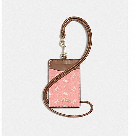 COACH ID LANYARD IN BUTTERFLY DOT PRINT COATED CANVAS - IMITATION GOLD/BLUSH CHALK - f59788