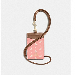 ID LANYARD IN BUTTERFLY DOT PRINT COATED CANVAS - f59788 - IMITATION GOLD/BLUSH CHALK