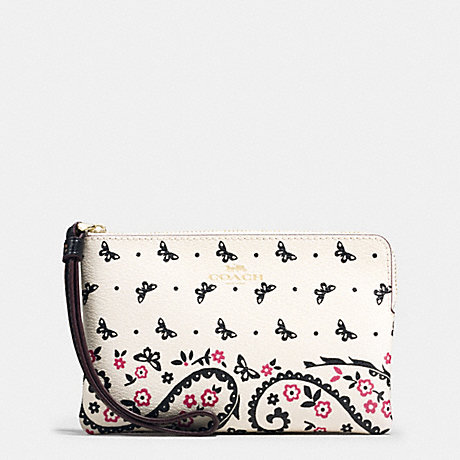 COACH CORNER ZIP WRISTLET IN BUTTERFLY BANDANA PRINT COATED CANVAS - IMITATION GOLD/CHALK/BRIGHT PINK - f59790