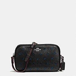 COACH CROSSBODY POUCH IN PERFORATED CROSSGRAIN LEATHER - SILVER/BLACK - F59792