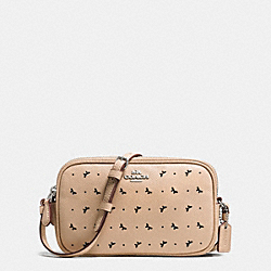 CROSSBODY POUCH IN PERFORATED CROSSGRAIN LEATHER - f59792 - SILVER/BEECHWOOD