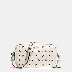 CROSSBODY POUCH IN PERFORATED CROSSGRAIN LEATHER - f59792 - SILVER/CHALK