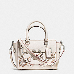 MINI BLAKE CARRYALL IN PEBBLE LEATHER WITH ALL OVER BUTTERFLY APPLIQUE - f59810 - SILVER/CHALK