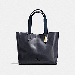 COACH LARGE DERBY TOTE IN PEBBLE LEATHER - IMITATION GOLD/MIDNIGHT - F59818