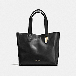 COACH LARGE DERBY TOTE IN PEBBLE LEATHER - IMITATION GOLD/BLACK - F59818