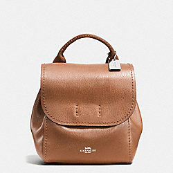 COACH DERBY BACKPACK IN PEBBLE LEATHER - SILVER/SADDLE - F59819