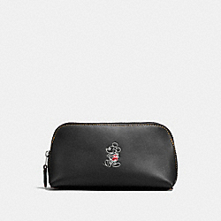 COSMETIC CASE 17 IN GLOVE CALF LEATHER WITH MICKEY - f59820 - ANTIQUE NICKEL/BLACK