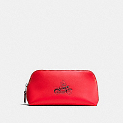 COSMETIC CASE 17 IN GLOVE CALF LEATHER WITH MICKEY - f59820 - BLACK ANTIQUE NICKEL/BRIGHT RED