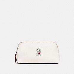 COSMETIC CASE 17 IN GLOVE CALF LEATHER WITH MICKEY - BLACK ANTIQUE NICKEL/CHALK - COACH F59820