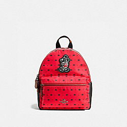 COACH MINI CHARLIE BACKPACK IN PRAIRIE BANDANA PRINT WITH MICKEY - QB/Bright Red Black - F59831