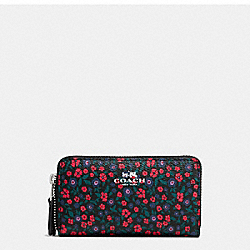 SMALL DOUBLE ZIP COIN CASE IN RANCH FLORAL PRINT MIX COATED CANVAS - f59833 - SILVER/MULTI
