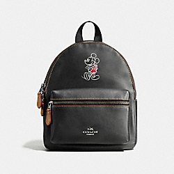 COACH MINI CHARLIE BACKPACK IN GLOVE CALF LEATHER WITH MICKEY - ANTIQUE NICKEL/BLACK - F59837