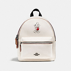 COACH MINI CHARLIE BACKPACK IN GLOVE CALF LEATHER WITH MICKEY - BLACK ANTIQUE NICKEL/CHALK - F59837