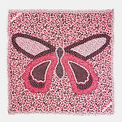 BUTTERFLY PATCHWORK OVERSIZED SQUARE SCARF - f59850 - BLUSH/MULTI