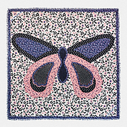 BUTTERFLY PATCHWORK OVERSIZED SQUARE SCARF - f59850 - CHALK/LAPIS