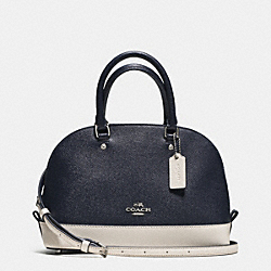 MINI SIERRA SATCHEL IN COLORBLOCK CROSSGRAIN LEATHER - f59852 - SILVER/MIDNIGHT
