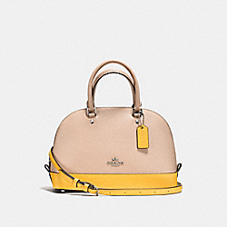 MINI SIERRA SATCHEL IN COLORBLOCK CROSSGRAIN LEATHER - f59852 - SILVER/BEECHWOOD