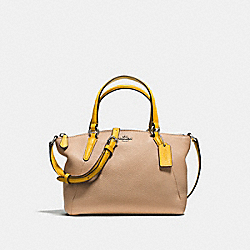 MINI KELSEY SATCHEL IN REFINED NATURAL PEBBLE LEATHER - f59853 - SILVER/BEECHWOOD