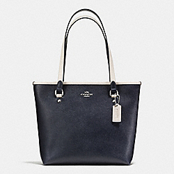 ZIP TOP TOTE IN CROSSGRAIN LEATHER - f59855 - SILVER/MIDNIGHT