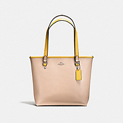 ZIP TOP TOTE IN CROSSGRAIN LEATHER - f59855 - SILVER/BEECHWOOD