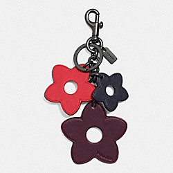 FLOWER MIX BAG CHARM - f59865 - BLACK/RED