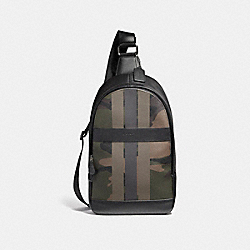 CHARLES PACK IN CAMO VARSITY PRINT COATED CANVAS - BLACK ANTIQUE NICKEL/DARK GREEN CAMO - COACH F59895