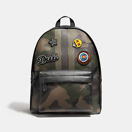 COACH f59906 CHARLES BACKPACK IN PRINTED COATED CANVAS WITH VARSITY CAMO PATCHES BLACK ANTIQUE NICKEL/DARK GREEN CAMO