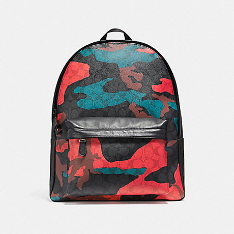 COACH f59914 CHARLES BACKPACK IN ANIMATED SIGNATURE CAMO PRINT COATED CANVAS BLACK ANTIQUE NICKEL/CHARCOAL/RED CAMO