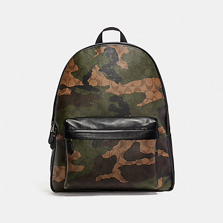 COACH f59914 CHARLES BACKPACK IN ANIMATED SIGNATURE CAMO PRINT COATED CANVAS BLACK ANTIQUE NICKEL/MAHOGANY/DARK GREEN CAMO