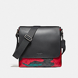 CHARLES SMALL MESSENGER IN ANIMATED CAMO SIGNATURE COATED CANVAS - f59915 - BLACK ANTIQUE NICKEL/CHARCOAL/RED CAMO