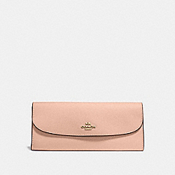 COACH SOFT WALLET IN CROSSGRAIN LEATHER - IMITATION GOLD/NUDE PINK - F59949