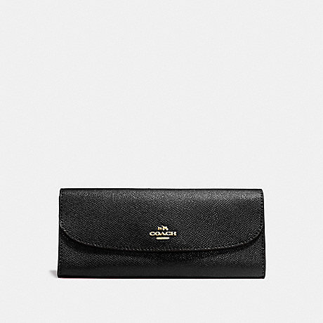 COACH SOFT WALLET IN CROSSGRAIN LEATHER - IMITATION GOLD/BLACK - f59949