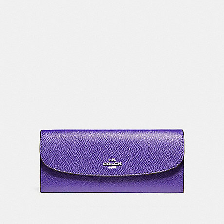 COACH SOFT WALLET IN CROSSGRAIN LEATHER - SILVER/PURPLE - f59949
