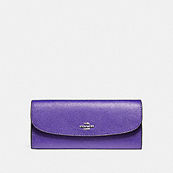 SOFT WALLET IN CROSSGRAIN LEATHER - SILVER/PURPLE - COACH F59949