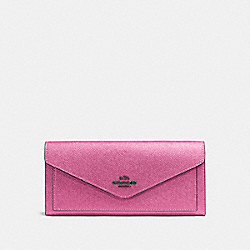 COACH SOFT WALLET - METALLIC BLUSH/DARK GUNMETAL - F59970