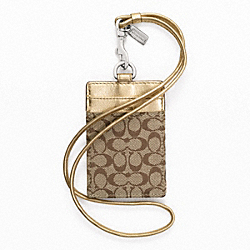 COACH LANYARD ID CASE IN SIGNATURE - SILVER/KHAKI/METALLIC - F60357