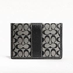 COACH SIGNATURE CARD CASE - SILVER/BLACK/WHITE/BLACK - F61124