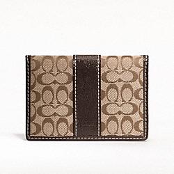 COACH SIGNATURE CARD CASE - SILVER/KHAKI/MAHOGANY - F61124