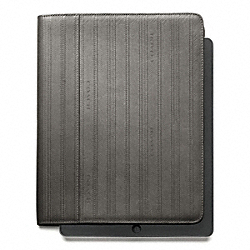 COACH BLEECKER EMBOSSED TICKING STRIPE TABLET CASE - ONE COLOR - F61221