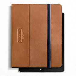 HERITAGE WEB LEATHER TABLET CASE - f61309 - SILVER/SADDLE