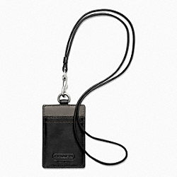 COACH HERITAGE WEB LEATHER LANYARD - SILVER/BLACK - F61313