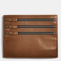 BLEECKER LEATHER ELECTRONIC CORD ZIP POUCH - FAWN - COACH F61321